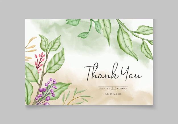 Elegancka zimowa karta zaproszenie na ślub kwiatowy z liśćmi