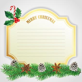 Elegancka złota kartka świąteczna z szyszkami i laską cukrową
