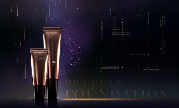 Elegancka złota kremowa tubka z kosmetykami do produktów do pielęgnacji skóry. szablon fundamentowy. luksusowy krem do twarzy. projektowanie ulotek reklamowych lub banerów reklamowych. marka produktów do makijażu.