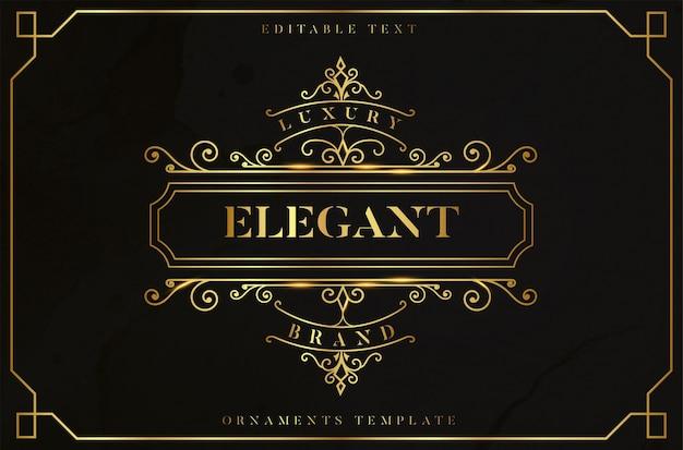 Elegancka złota ramka ornament z edytowalnym złotym efektem tekstowym