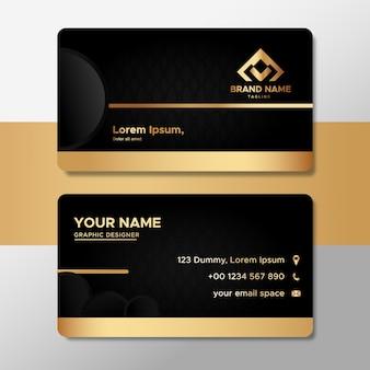 Elegancka złota wizytówka z szablonem kształtów koła
