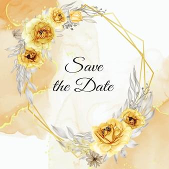 Elegancka złota żółta róża kwiat wieniec akwarela