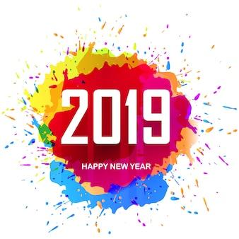 Elegancki 2019 szczęśliwego nowego roku kolorowy projekt karty