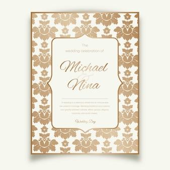 Elegancki adamaszku szablon zaproszenia ślubne