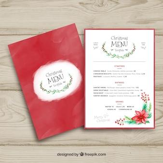 Elegancki akwarela christmas menu