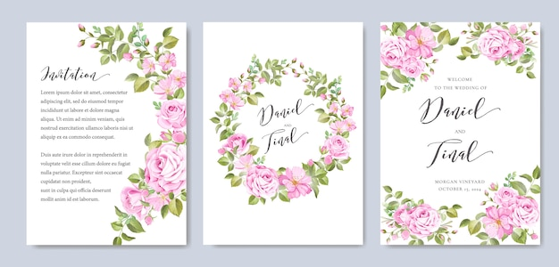 Elegancki akwarela kwiatowy i szablon karty ślubu liści