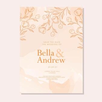 Elegancki akwarelowy ręcznie rysowany szablon zaproszenia ślubnego