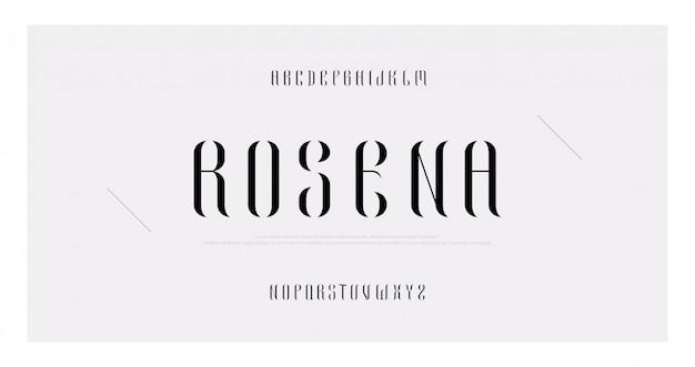 Elegancki alfabet litery minimalnej mody zestaw czcionek