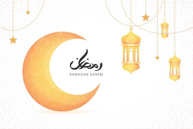 Elegancki baner kaligrafii ramadan kareem z piękną abstrakcyjną mandalą i półksiężycem