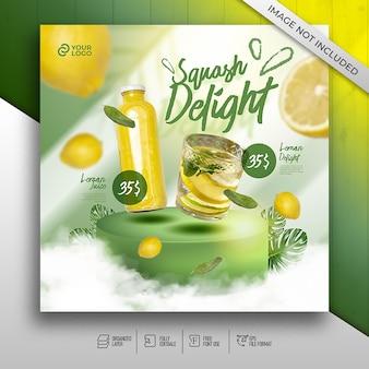 Elegancki baner menu drinków dla restauracji promocji w mediach społecznościowych