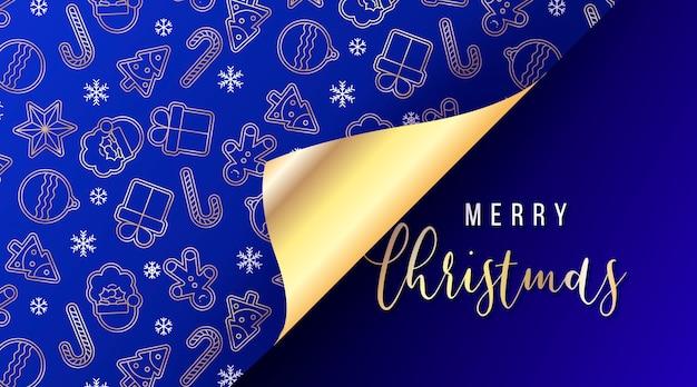 Elegancki baner świąteczny z otwartym papierem do pakowania prezentów