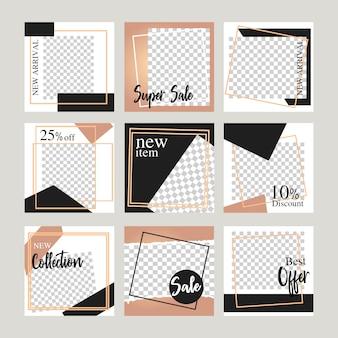 Elegancki baner układ społecznościowy dla baneru internetowego promocji sprzedaży online.