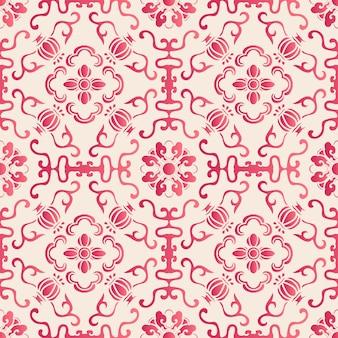 Elegancki bezszwowy chiński botaniczny kwiat wzór krzywej. tradycyjny projekt tapety w stylu retro.