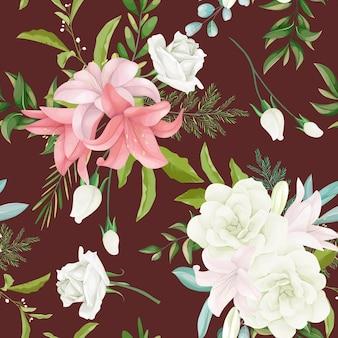 Elegancki bezszwowy wzór kwiatowy z pięknymi ręcznie rysowanymi kwiatami i liśćmi