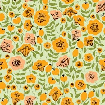Elegancki bezszwowy wzór z kwiatami, wektorowa ilustracja