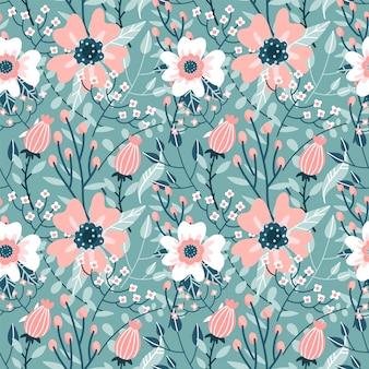 Elegancki bezszwowy wzór z różowymi różami kwitnie, pączkuje i rozgałęzia się., płaska ręka rysująca ornament ilustracja.