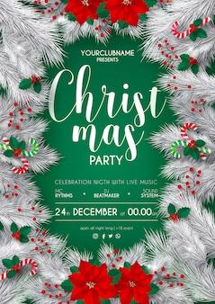 Elegancki biały i zielony szablon strony świąteczne plakat