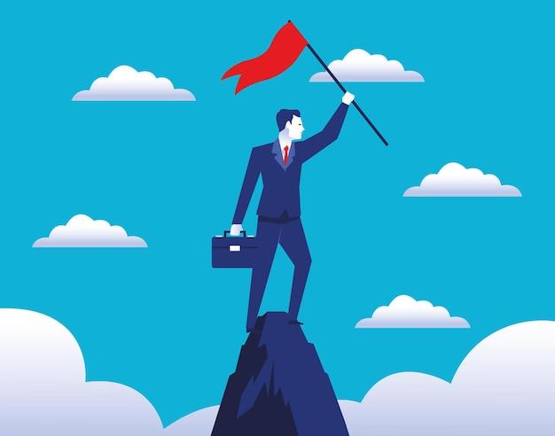 Elegancki biznesmen pracownik z flagą sukcesu w ilustracji szczytu