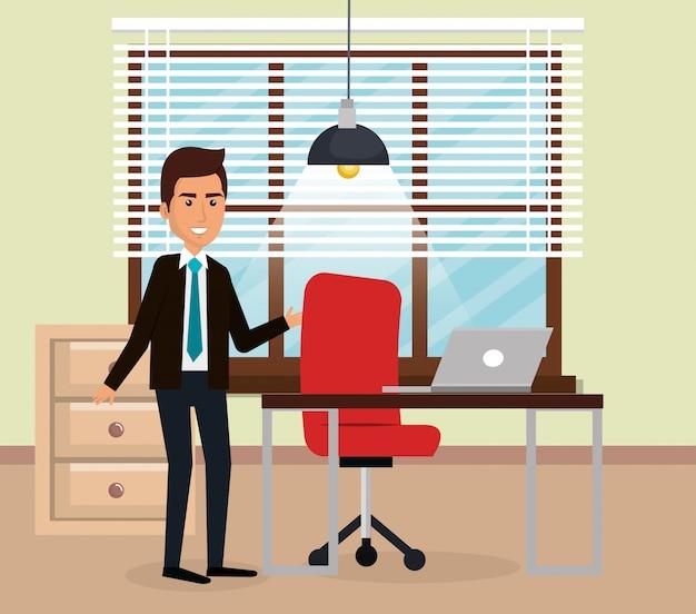 Elegancki biznesmen w scenie biurowej