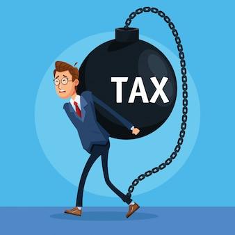 Elegancki biznesmen z charakterem kajdan podatkowych