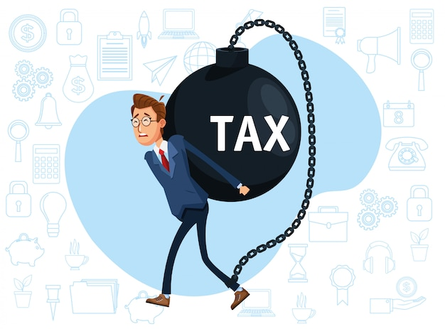 Elegancki biznesmen z kajdan podatkowych