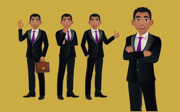 Elegancki biznesmen z różnymi pozami.