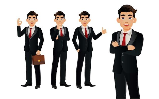 Elegancki biznesmen z różnymi pozami