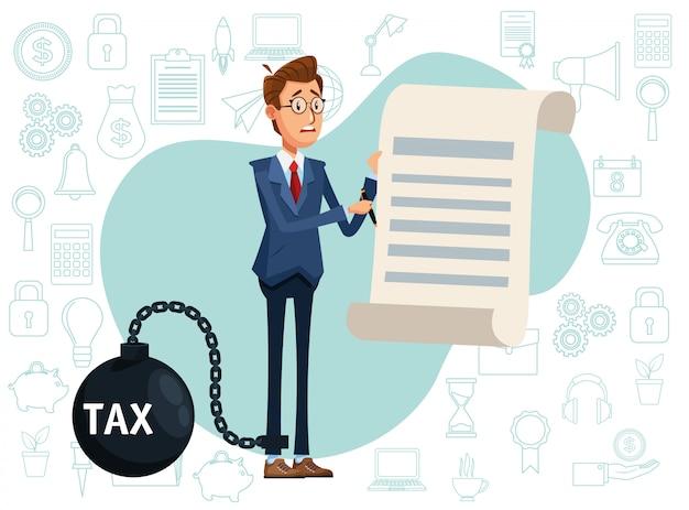 Elegancki biznesmen z szekla podatkowa i dokument