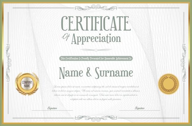 Elegancki certyfikat lub dyplom retro vintage design