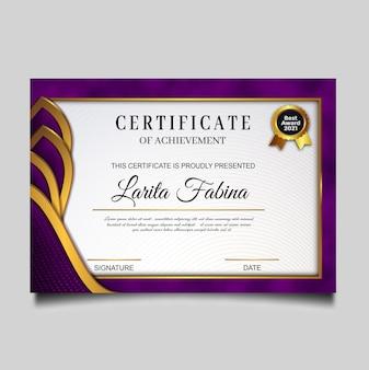 Elegancki certyfikat osiągnięcia szablonu
