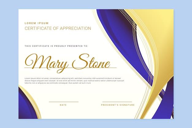 Elegancki certyfikat w kolorze gradientu