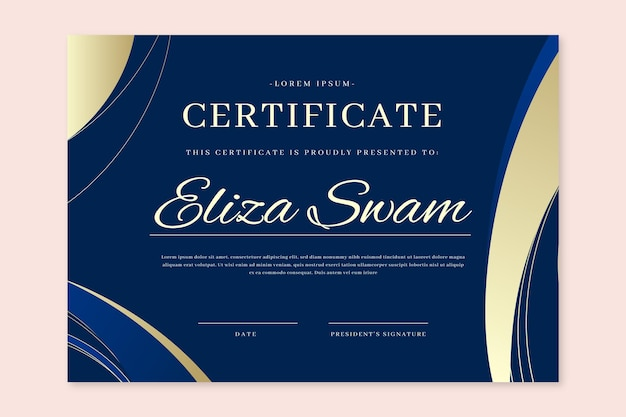 Elegancki certyfikat w stylu gradientu