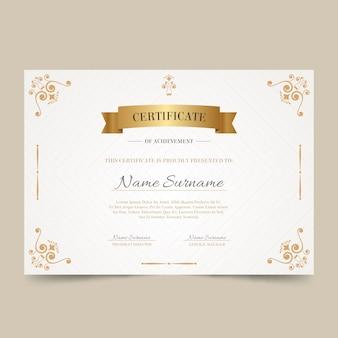 Elegancki certyfikat ze złotą ramą