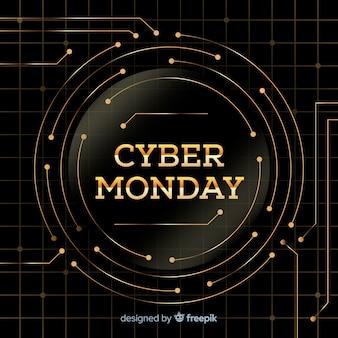 Elegancki cyber poniedziałku sprzedaży tło z złotym tekstem