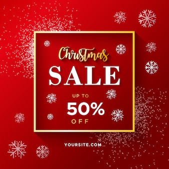 Elegancki czerwony świąteczna wyprzedaż banner z brokatem