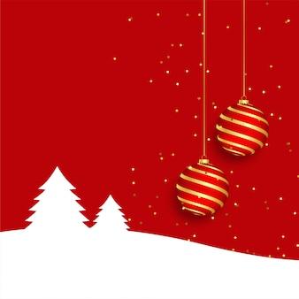 Elegancki czerwony wesołych świąt bożego narodzenia kartkę z życzeniami z realistyczną piłkę