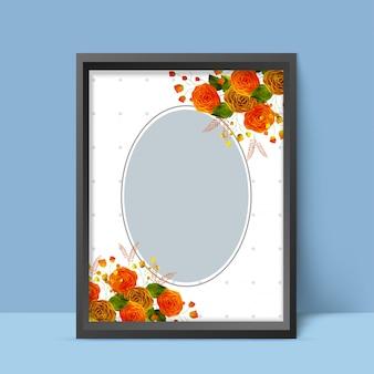 Elegancki design sławy fotograficznej z kolorowych kwiatów w kolorze wody.