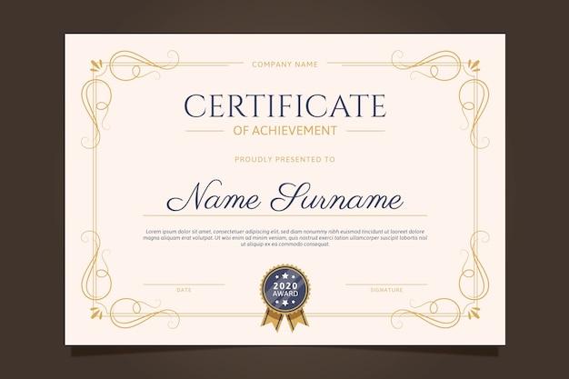 Elegancki design szablonu certyfikatu