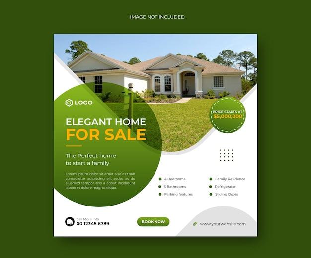 Elegancki dom na sprzedaż baner w mediach społecznościowych lub szablon banera kwadratowego