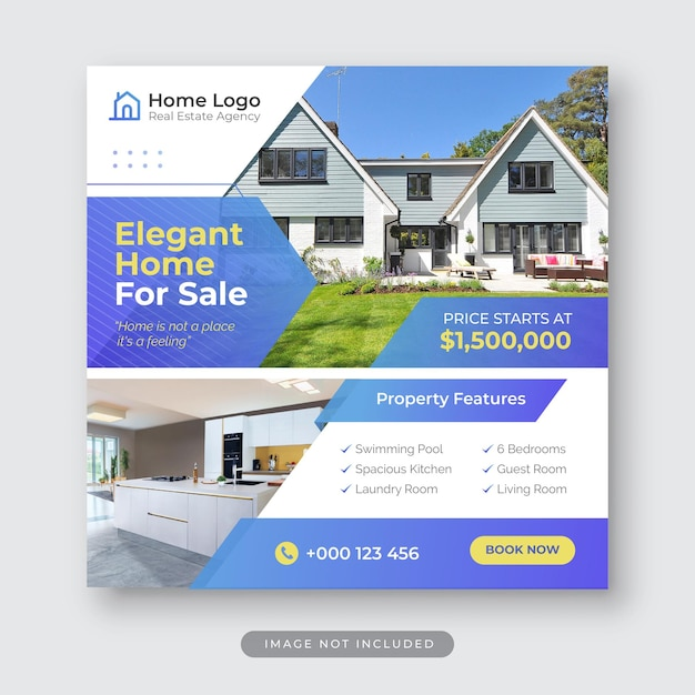 Elegancki dom na sprzedaż szablon postu na instagramie w mediach społecznościowych