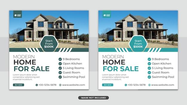 Elegancki dom na sprzedaż w mediach społecznościowych facebook post banner lub kwadratowy szablon ulotki