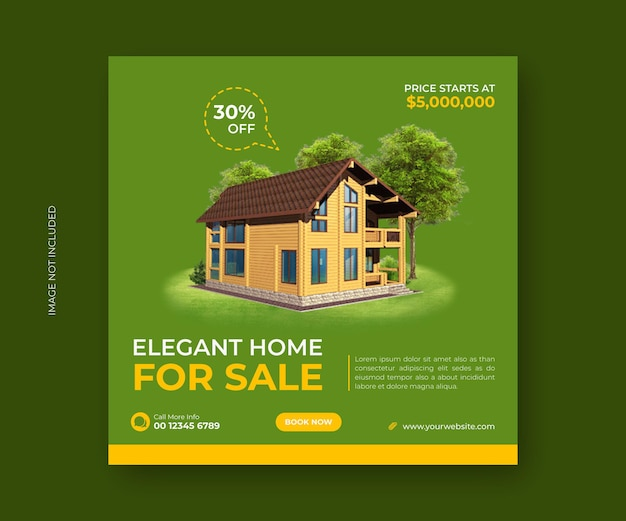 Elegancki dom na sprzedaż w mediach społecznościowych post banner lub kwadratowy szablon ulotki