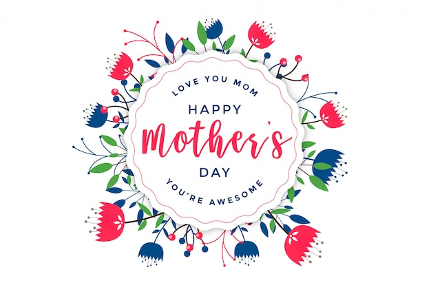 Elegancki dzień matki szczęśliwy kwiatowy pozdrowienie