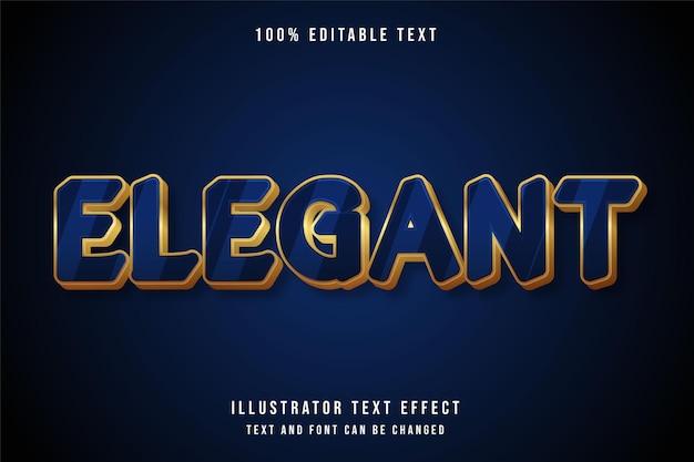 Elegancki, edytowalny efekt tekstowy 3d nowoczesny styl niebieski gradacja żółty złoty tekst