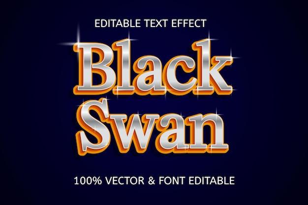 Elegancki, edytowalny efekt tekstowy w stylu czarnego łabędzia