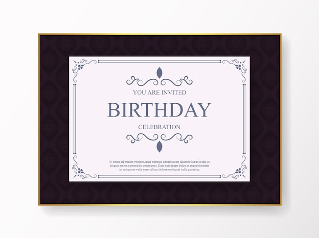 Elegancki fioletowy szablon zaproszenia urodzinowe