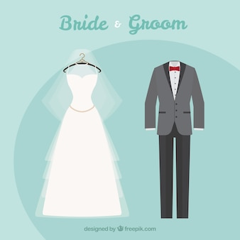 Elegancki garnitur i suknia ślubna