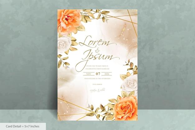 Elegancki geometryczny szablon zaproszenia ślubne z ręcznie rysowane akwarela kwiat i eukaliptus
