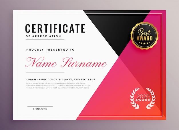 Elegancki geometryczny uniwersalny projekt szablonu certyfikatu