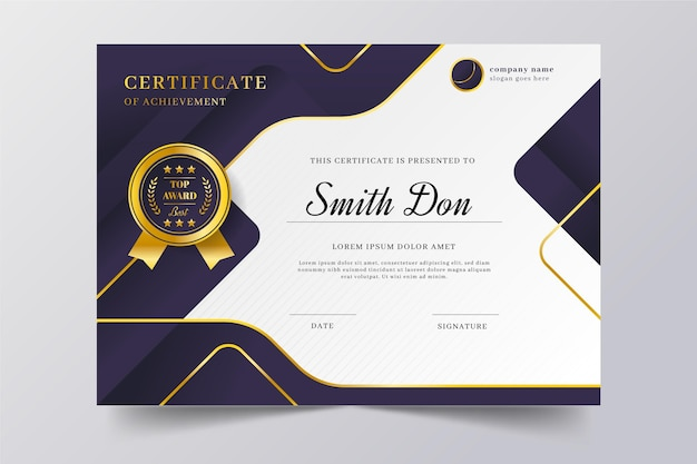 Elegancki, gradientowy certyfikat ze złotymi elementami